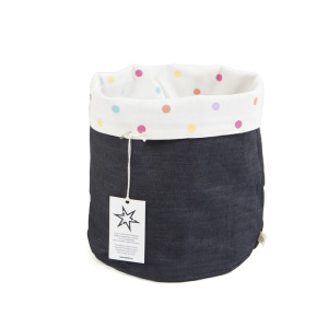 Storage Bag Denim Polka Dot Mini